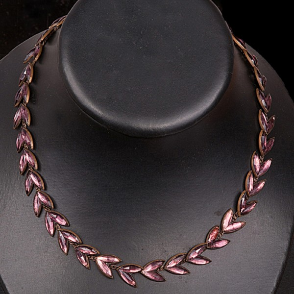 1920-1930s Mirror Backed pink leaf necklace