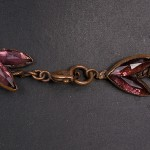 1920-1930s Mirror Backed pink leaf necklace - clasp