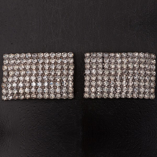 1920s Diamante rectangle shoe clips