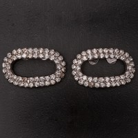 1920s Oval diamante shoe clips 1