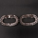 1920s Oval diamante shoe clips - back