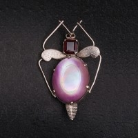1920s Silver amethyst and abalone moth brooch