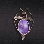 1920s Silver amethyst and abalone moth brooch - back