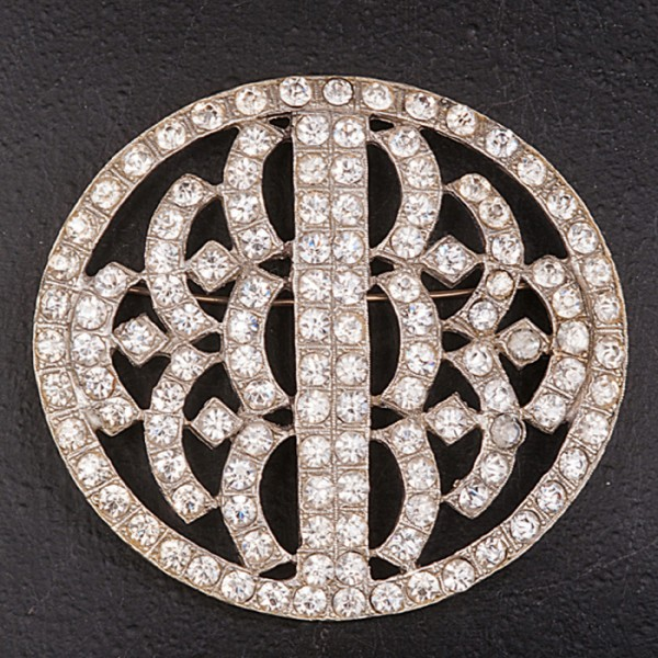 1920s exquisite large oval diamante brooch