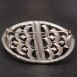 1920s exquisite large oval diamante brooch - back