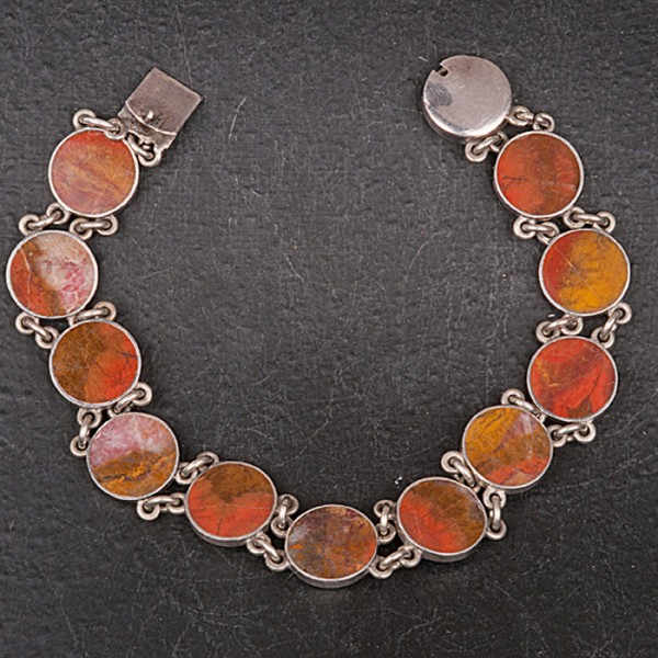 1930s Agate and Sterling Silver Bracelet