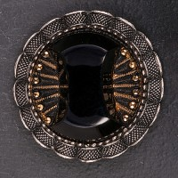 1930s Art Deco Brooch with jet stone and pressed steel