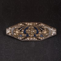 1930s Art Deco resin and silver brooch set with diamante - 2