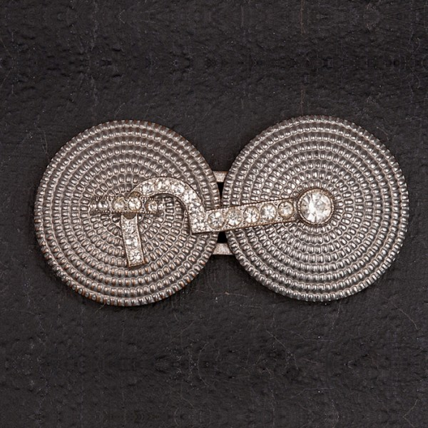 1930s Pressed steel buckle with diamante cabin hook and eye
