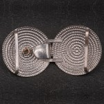 1930s Pressed steel buckle with diamante cabin hook and eye - back