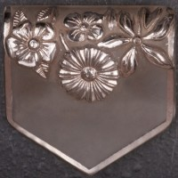1930s clear lucite and silver engraved enamel floral design brooch