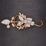 1940s Australian pale blue enamel floral spray brooch with diamonte and pearls 2