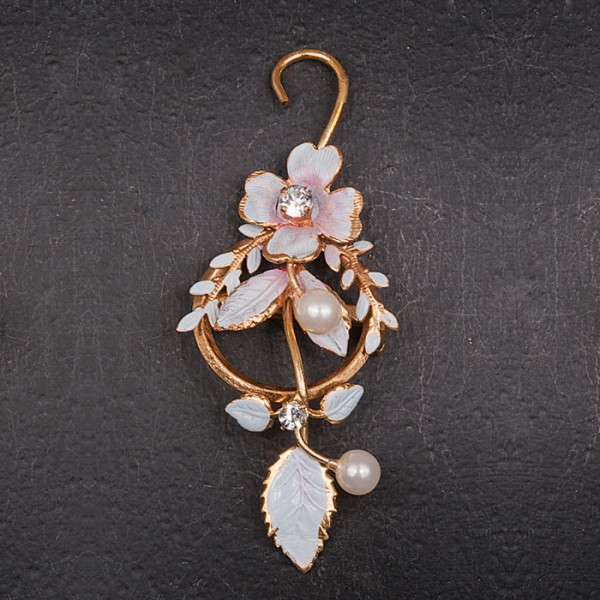 1940s Australian pale blue enamel floral spray brooch with diamonte and pearls