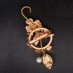 1940s Australian pale blue enamel floral spray brooch with diamonte and pearls - back