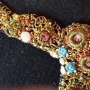 1940s Black short sleeve wool jumper with jewelled neckline - detail 2