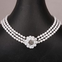 1940s Miriam Haskell three skein White Glass Necklace with Jewelled large Daisy fastening