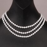 1940s Miriam Haskell three skein White Glass Necklace with Jewelled large Daisy fastening - back