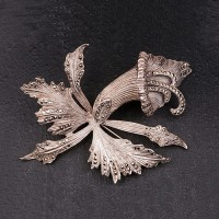 1940s Solid Silver Orchid marcasite large Brooch