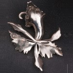 1940s Solid Silver Orchid marcasite large Brooch - back