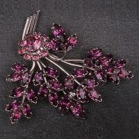 1940s large purple paste spray brooch
