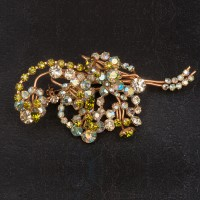 1940s large spray floral brooch of lustre lime green and crystal paste