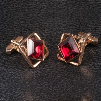 1950s Cuff links with Red paste stone set in goldtone metal - 2