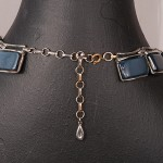 1950s lucite abd silver tone metal geometric necklace in blue - back