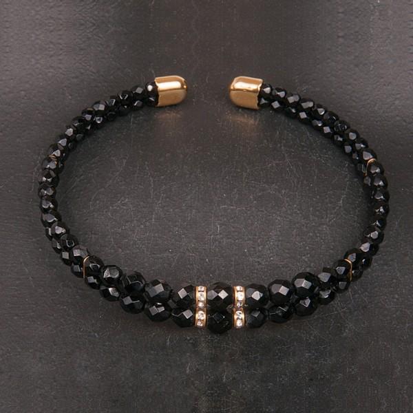 1960s Black jet choker necklace with goldtone trim and diamante