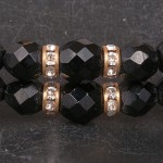 1960s Black jet choker necklace with goldtone trim and diamante - detail