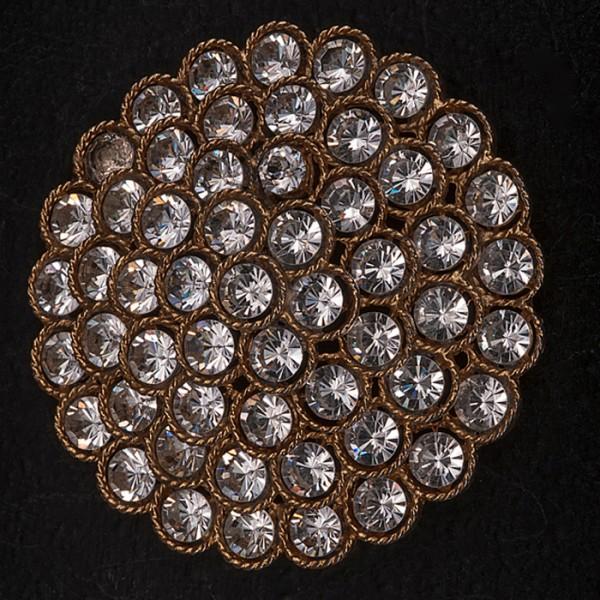 1960s LISNER Large Circular diamante brooch set in goldtone metal