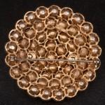 1960s LISNER Large Circular diamante brooch set in goldtone metal - back