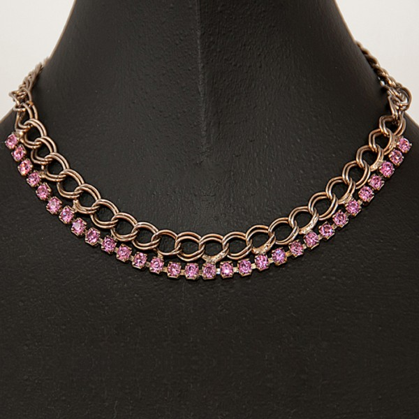 1960s Pale Pink Paste Necklace with goldstone metal linked chain