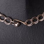 1960s Pale Pink Paste Necklace with goldstone metal linked chain - clasp