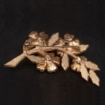 1980s diamante spray brooch set in goldtone metal by SARDI - back