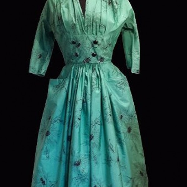 1950s Horrockses Green and Black cotton dress