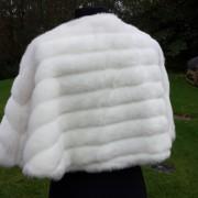 1950s Neiman Marcus White Faux Fur Bolero Cape-back