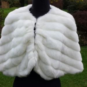 1950s Neiman Marcus White Faux Fur Bolero Cape - front