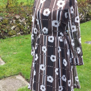 1960s Brown and White original CRESTA floral chiffon dress - 1