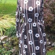 1960s Brown and White original CRESTA floral chiffon dress - 2