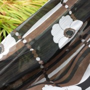 1960s Brown and White original CRESTA floral chiffon dress - detail