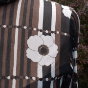 1960s Brown and White original CRESTA floral chiffon dress - detail 2