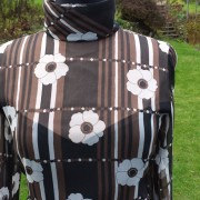 1960s Brown and White original CRESTA floral chiffon dress - detail 3