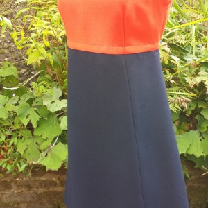 1960s Couture pure gabardine wool Navy and Red Dress