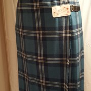 1960s Mosbrook Blue Tartan pleated pure wool ladies kilt-1