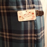 1960s Mosbrook Blue Tartan pleated pure wool ladies kilt - detail