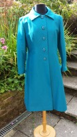 1960s Peggy French Kingfisher Silk Coat