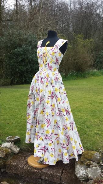 1950s Daffodil Cotton Print Dress